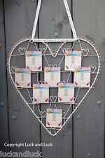Wedding Table Plan Cream Metal Vintage Shabby Style Heart Card / Photo Holder L