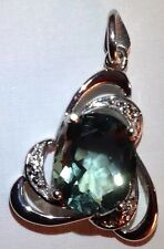 Blue Green Fluorite Pendant with White Topaz Accents