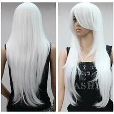 Fashion White Long Straight Anime party Cosplay Full Wig HWL024