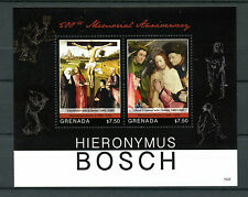 Grenada 2016 MNH Hieronymus Bosch 500th Memorial 2v S/S Art Paintings Stamps