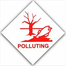 6 x Polluting Warning Stickers-Health Pollution Signs-Fish,Lake,River-Red Signs