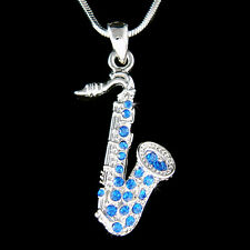 w Swarovski Crystal TENOR ALTO ~Royal Blue SAXOPHONE Musical Instrument Necklace
