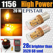 2x 20W Epistar 1156 7506 BA15S LED 430LM Amber Yellow Turn Signal Light Bulbs