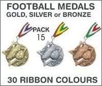 PACK OF 15 (£1.30 each) Football Star Medals and Ribbon 60mm Metal SM1-MR1