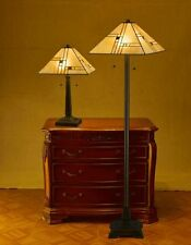 "Tiffany Style Golden Mission Lamp Set Handcrafted 16"" Shade"