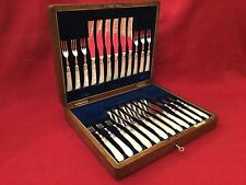Quality Walker & Hall 24 Piece Mother of Pearl & Solid Silver Fruit Dessert Set