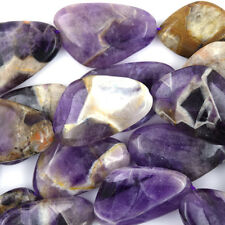 "30mm natural amethyst triangle beads 15.5"" strand"