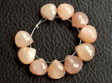 Natural Peach Moonstone Faceted Heart Briolette Semi Precious Gemstone Beads