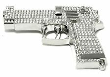 BIG GUN SILVER CHROME ICED OUT HIP HOP BLING RHINESTONE BELT BUCKLE ROCK REBEL.
