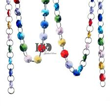 Colorful Crystal 14mm Octagon Beads Chain Chandelier Prisms Wedding Decor 215mm