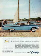 Old Print. Blue 1957 Dodge Custom Royal Lancer Four-Door Hardtop Auto Ad