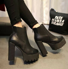 fashion womens platform chunky heel shoes faux leather ankle knight boots size