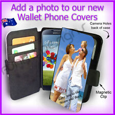 Personalised PHOTO Samsung S4 i9500 Wallet Flip case PICTURE cover Logo Image