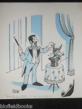 "CLIFFORD C LEWIS ""CLEW"" Original Pen & Ink Cartoon - Magician Fox in Hat #408"