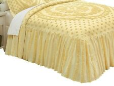 Isabelle Medallion Chenille Cotton Bedspread Yellow -Full