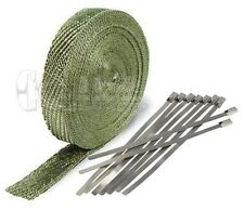 "Exhaust Header Heat Wrap, 2"" x 50' Roll Stainless Steel Zip Cable Ties Titanium"