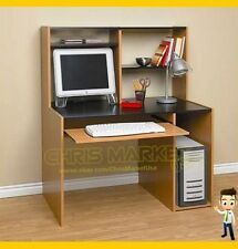 Student Computer Desk With Hutch Book Shelf Cabinet Home Office Black and Oak