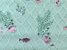 1940s Vintage Wallpaper Fish Fuchsia Pink and Blue Mid Century Bath