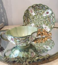 Vintage ARDALT Green Moriage Tea Cup & Saucer Lenwile China Japan Handpainted