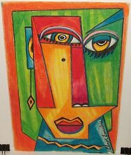 ELMER SANDERS ABSTRACT FACE ORIGINAL CRAYON PAINTING SIGNED #3