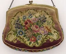 Sweet Antique Petit Point or Needlepoint Tapestry Purse w/ Carnelian Stone Clasp