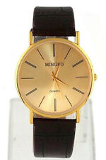 B3 MINGBO Golden Gentle Men's Man Faux Leather Band Wrist Watch