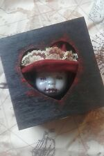 Small wooden macabre curio box dolls head creepy horror ooak