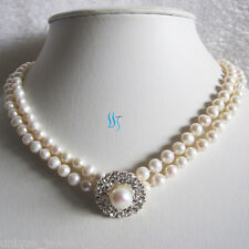 "16.5-17"" 5-6mm White Freshwater Pearl Necklace Choker Jewelry"