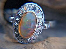 18KT White  Gold Mexican Fire Opal Ring --  Size  6.75  -   ESTATE PIECE