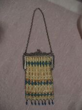 Mandalian Enamel Mesh Purse, Art Deco Geometric Design, 1920s Flapper Era