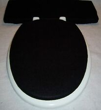 Solid BLACK fleece Elongated Toilet Seat Lid and Tank Lid Cover Set