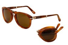 Persol Men's PO714 96/33 Light Havana/Silver Folding Pilot Sunglasses 52mm