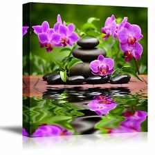 """Canvas - Zen Basalt Stones and Orchid Spa,Beauty and Calmness Concept- 24"""" x 24"""""""