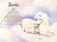 Unicorn Personalized Name Meaning Ready to Frame Print