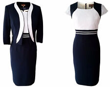 MOTHER OF THE BRIDE GROOM OUTFIT FORMAL 2 PIECE JACKET DRESS SIZE 14 IVORY NAVY
