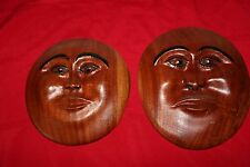 """Handcarved Wood Round Moon Male and Female Faces Artist Signed 10"""""""