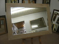 """NEW LARGE 3"""" FLAT WHITE LIMED SOLID OAK FRAMED OVERMANTLE WALL MIRRORS"""