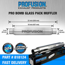 """2"""" (50mm) 3.5x18"""" inch Round Universal Stainless Steel ProBomb Exhaust Silencer"""
