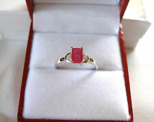 CELINE F. - .80 Ct. Ruby Solitaire & Diamond  10k White Gold Ring