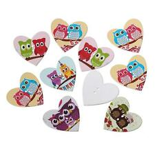 20PCS Heart-shaped Owl Wooden Sewing Buttons Scrapbooking Embellishments 25mm