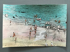 RICHARD HAMILTON unique hand colored WHITLEY BAY postcard 1966 robert fraser VGC