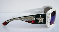 WHITE MONTANA WEST UV 400 SUNGLASSES TEXAS FLAG & RHIESTONE STAR & HARD CASE