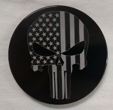 "Punisher Skull, Flag, Billet Aluminum Hitch Cover Plug, 4"" Black Anodized"
