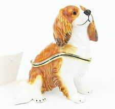 """Cavalier King Charles Spaniel""  Enamelled Dog Trinket Box or Figurine -Blenheim"