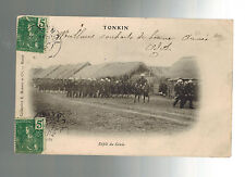 1907 Tonkin Vietnam RPPC Postcard Cover to Tientsin China French Army on Parade