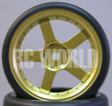 RC Car 1/10  DRIFT WHEELS TIRES Package 3MM Offset  GOLD 5 SPOKE *SET OF 4*