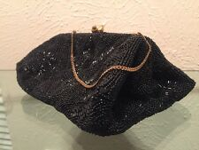 Vintage Bags by Josef Brass Hinged Kiss Lock Black Bag Made by Hand in France