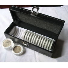 PU Leather Coin Storage Case Security Display Box Safe Holder Capacity 20 PCGS