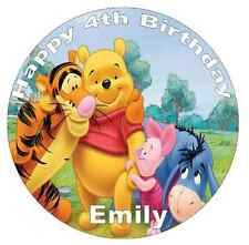 "Winnie The Pooh Personalised Cake Topper 7.5"" Edible Wafer Paper Birthday Party"