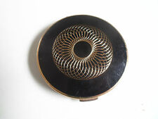 Collectable Vintage Stratton Compact ~ Black With Gold Colour Design to Lid